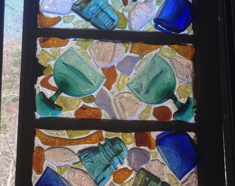 """27""""x19""""recycled glass and thrift store finds insulator tea cups wine glasses mosaic on repurposed window"""