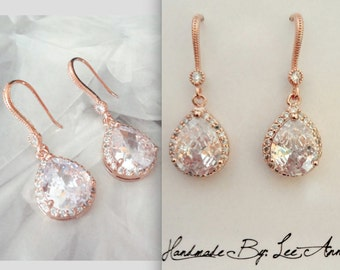 Rose gold earrings ~ Bridal earrings, Cubic zirconia earrings ~ Rose gold teardrop earrings ~ Rose gold bridal earrings,Bridesmaids earrings