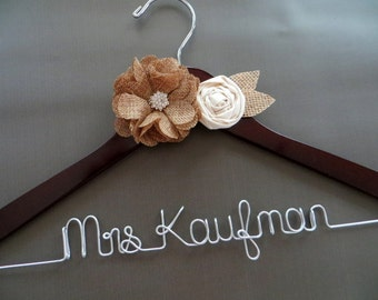 RUSH ORDER Rustic Bride Hanger, Personalized Wedding Dress Hanger, Burlap Hanger, Wire Wedding Hanger, Wedding Coat Hanger, Engagement Gift