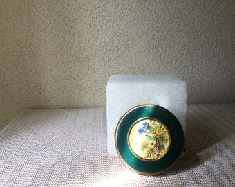 Compact, Vintage Compact, Green Enameled Vintage Compact, Mid Century Compact, Collectible Compact