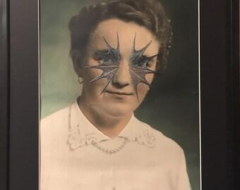 """antique portrait recolorisé brodée """"jeanine"""""""