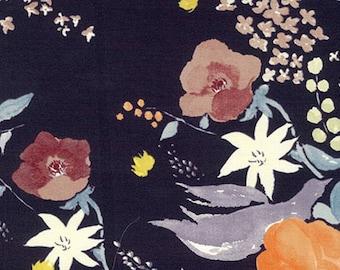 "Nani Iro Fuccra Rakuen in ""Majorca"" floral on black cotton sateen fabric, by the yard"