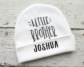 Personalized Little Brother Hat, Infant Hospital Hat, Personalized Newborn Beanie, Baby Name Hat, Newborn Hospital Hat, Newborn Photo Hat