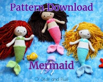 PATTERN- Mermaid Doll PDF Crochet Pattern, amigurumi mermaid, crochet stuffed animal, digital download, Ariel