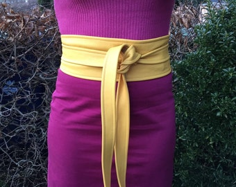 XL- genuine Leather bright yellow Obi belt, corset belt, wrap on belt, corset belt, wide waist belt, waist cincher,