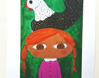 A4 Print of Red Hair Girl with Chicken on Top of Head