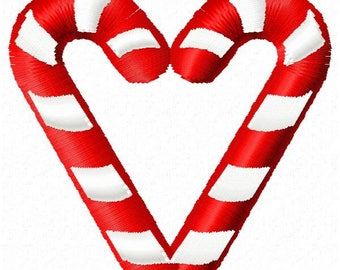 Candy Cane Heart Machine Embroidery Design - Instant Download
