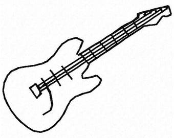 Guitar Machine Embroidery Design - Instant Download