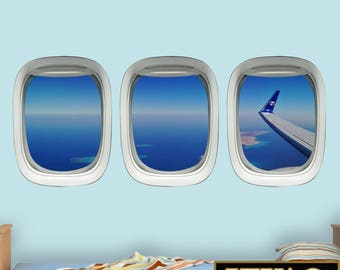 Aviation Window Decal, Airplane Wing Stickers - Plane Window Clings Pilot Gift VWAQ-PPW29