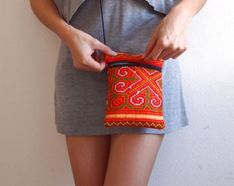 Small Ethnic Embroidered Boho, Hippy, Hobo Thai Asian Hill Tribe Hmong Clutch Bag Purse