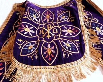 1800 clergy vestment dress panel velvet priest cope robe w gold bullion fringe floral embroidery French casel casula religious vestment