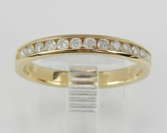 Diamond Wedding Ring Anniversary Band 14K Yellow Gold Stackable Size 7.25