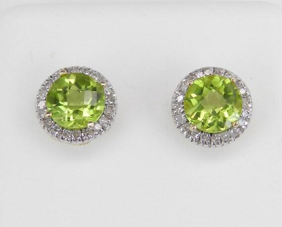 Peridot and Diamond Stud Earrings Halo Studs Yellow Gold August Birthstone Gem