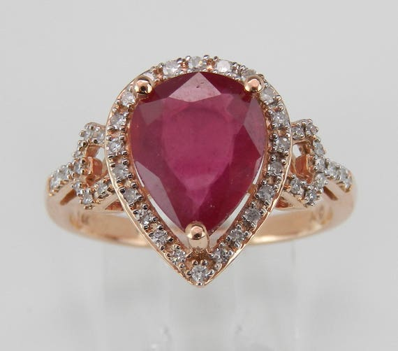 Diamond and Pear Ruby Halo Engagement Ring 14K Rose Gold Size 7 July Gemstone
