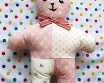 Pink and White Patchwork Teddy, Soft Toy, Stuffed Animals, Baby Gift, Softie, Soft Toys, Nursery Decor