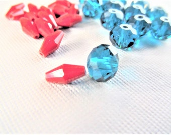 6mm Blue/ Green Rondelle beads, OR 8mm Red bicone ab Crystal Beads, S57