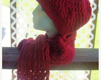 ON SALE Burgundy Crochet Hat and Scarfette Set