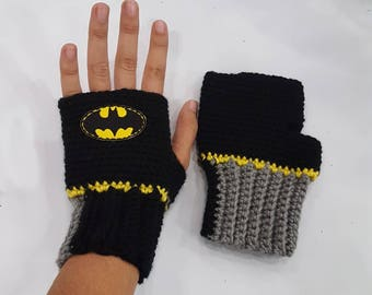 Crochet Batman Gloves