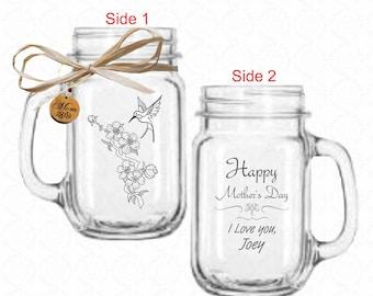 Gift for Mom Drinking Jar Hummingbird Art with Cherrywood Charm