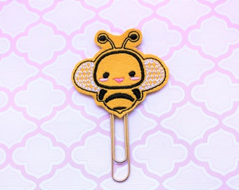 Bee vinyl planner paperclip, Bumble bee bookmark, Honey bee on yellow vinyl planner paperclip, Bee planner paperclip accessories