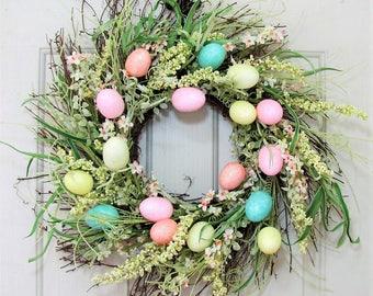 Easter Wreath - Spring Wreath - Easter Egg Wreath - Storm Door Wreath - Pastel Floral Wreath - Spring Front Door Decor - Easter Egg Decor