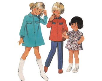 Vintage 1970s Toddlers A Line Zipper Front Mini Dress Pattern or Tunic and Pants Childrens Size 3 Style 3493