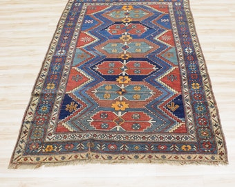 Hand knotted Rug, Indigo Blue and Rust Red / Orange , Vintage Turkish
