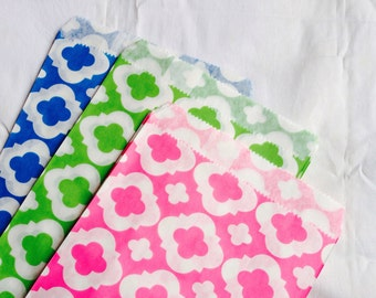 """LAST SET 75 Mod Print Paper Bags,Gift Bags,Party Bags,Assorted colors,Green,Pink,and Blue(Size 5 1/8"""" X 6 1/2"""")"""