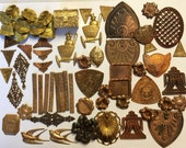 Assorted Vintage Stampings, Brass Shields, Brass Flowers, Vintage Jewelry Supplies, Gingerbread Brass, B'sue Boutiques, 6 to 58mm, Item0712