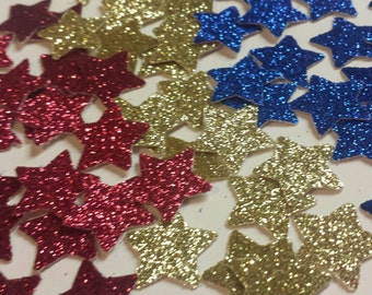 Glitter Gold Red Blue confetti stars 150 count Wonder Woman or superhero party colors