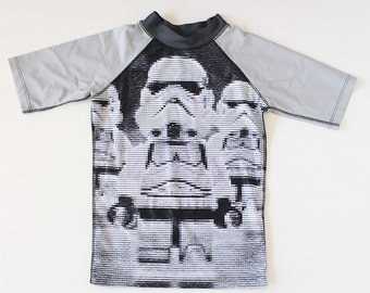 Boys swimsuit short sleeve Rash Vest with sublimated with stormtrooper design.