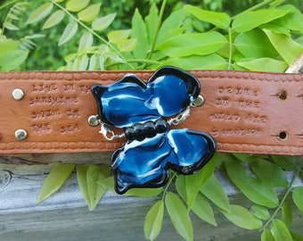 Indigo Blue Glass Butterfly on Leather Cuff