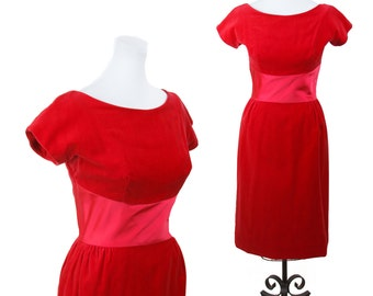 1950s Dress // Red Velveteen Wiggle Rose Bow Holiday Dress by Lorrie Deb
