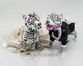 Skull american pitbull terrier wedding cake topper handmade skull dogs