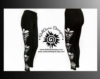 OOH LA LA 2 - Womens / Juniors Cut Up, Shredded and Weaved Black Leggings, Club Wear, Sexy Wear, Yoga Wear