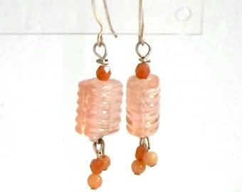 Handmade earrings peach pink quartz dangle clip or pierced by Pat2