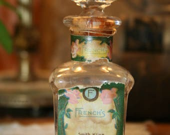 """Vintage Perfume Bottle """"French's"""" with Floral Label"""
