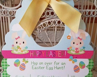 Easter Egg Hunt Invitation  - Easter Party Invite - Easter Basket Custom Die Cut Invitation