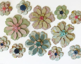 Large Chipboard Flowers - Shabby Vintage Style with Buttons - Scrapbooking, Cardmaking, Paper Crafts, Altered Art