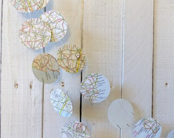 European Road Map Circle Paper Garland - 3m / 10ft - Travel Theme Party, Wedding, Home Decor