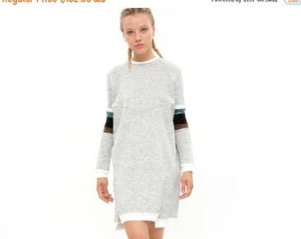 Grey dress, Heather Grey, Everyday look, Minimalist look, Sweatshirt dress, Ethnic style, Winter Sweatshirt, long sleeves, winter 2017,