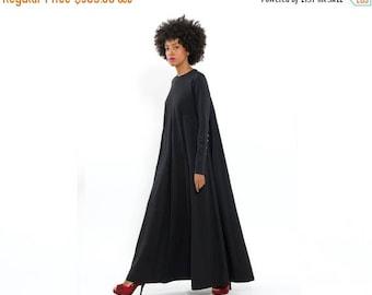 Long Black Maxi Dress, long Sleeve Dress fo Autumn - Winter Fashion, Oversized - Loose - Trendy, Elegant and Chic