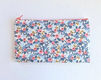 Rifle Paper Co Fabric Zipper Pouch, Pencil Case, Rosa Floral Pencil Pouch, Periwinkle Cosmetic Bag, Coral Gift bag