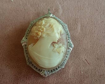 Vintage 10Kt white Gold Filigree Carved Shell Cameo Pin or pendant