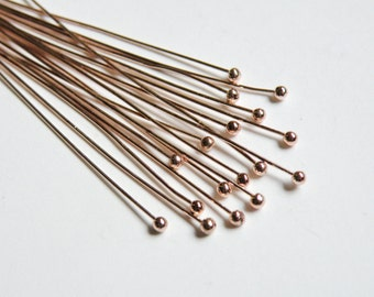 20 Rose Gold Ball head pins 24 gauge 2 inches or 5cm long CCRG1019
