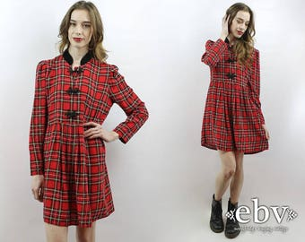 90s Grunge Dress 90s Plaid Dress Babydoll Dress 90s Mini Dress Tartan Plaid Dress 1990s Dress Red Plaid Dress 90s Dress Plaid Mini Dress M L