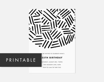 Printable Invite Minimalist / Modern Printable Invitation / Bold Pattern / Black and White / Adult Birthday Party, Graduation Party
