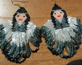 Hand Beaded Silver lined Teal  Indian Maiden girl earrings