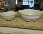 RESERVED FOR JEANNE Two Vintage Milk Glass Mixing Bowls by Glasbake - Currier & Ives