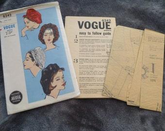 Vogue 6242 Vintage Sewing Pattern Beret or Snood Style Hat 1960s Uncut